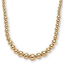 18k Gold over Sterling Silver Graduated Bead Necklace 17""