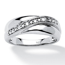 SETA JEWELRY Men's 1/10 TCW Round Diamond Wedding Band in Platinum over Sterling Silver