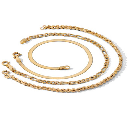 3-Piece Ankle Bracelet Set in 18k Gold over Sterling Silver at PalmBeach Jewelry