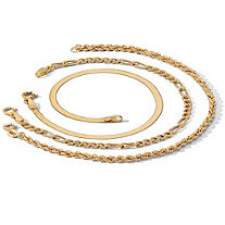 3-Piece Ankle Bracelet Set in 18k Gold over Sterling Silver