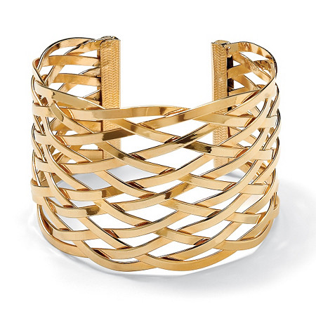 Lattice Cuff Bracelet in Yellow Gold Tone at PalmBeach Jewelry