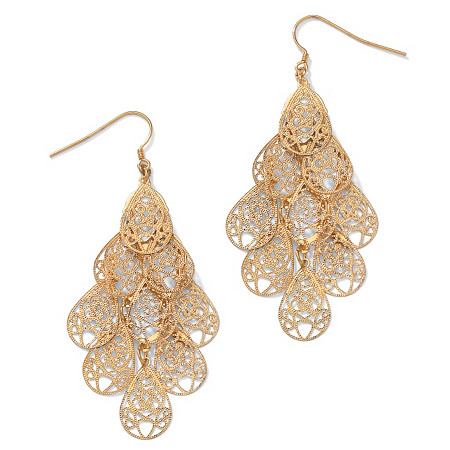 Filigree Chandelier Earrings in Yellow Gold Tone at PalmBeach Jewelry
