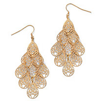 Filigree Chandelier Earrings in Yellow Gold Tone