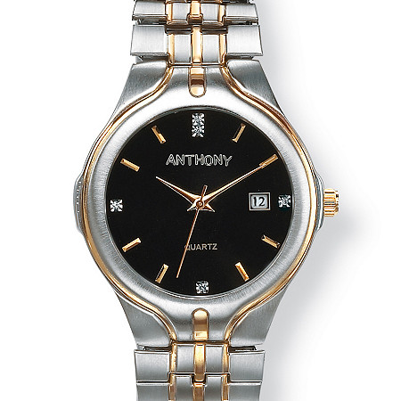 Men's Two-Tone Personalized Watch with Crystal Accents in Stainless Steel 8