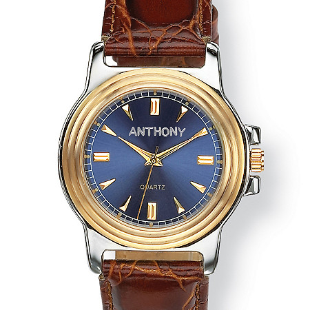 "Men's Personalized Two-Tone Watch with Blue Face and Brown Embossed Leather Strap in Stainless Steel 8"" at PalmBeach Jewelry"