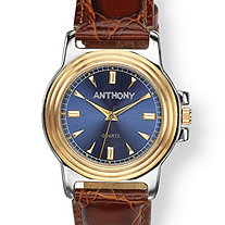 Men's Personalized Two-Tone Watch with Blue Face and Brown Embossed Leather Strap in Stainless Steel 8""