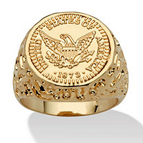 Men's 14k Gold-Plated American Eagle Coin Replica Nugget-Style Ring