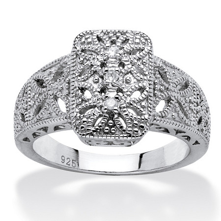Diamond Accent Vintage-Inspired Platinum over Sterling Silver Filigree Ring at PalmBeach Jewelry