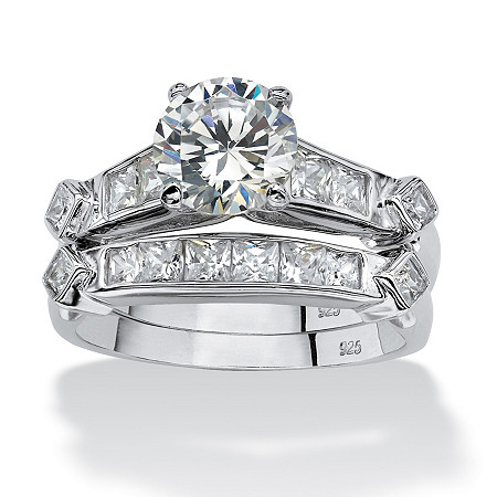 2 Piece 3.14 TCW Round Cubic Zirconia Bridal Ring Set in Platinum over Sterling Silver at PalmBeach Jewelry