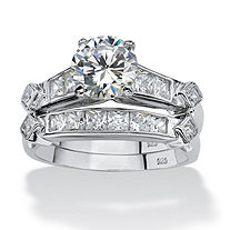 SETA JEWELRY 2 Piece 3.14 TCW Round Cubic Zirconia Bridal Ring Set in Platinum over Sterling Silver
