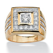 SETA JEWELRY Men's 2.18 TCW Round Cubic Zirconia 18k Gold Yellow over Sterling Silver Bezel-Set Square Ring