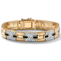 SETA JEWELRY Men's 2.52 TCW Cubic Zirconia and Genuine Onyx Bracelet in 14k Gold-Plated