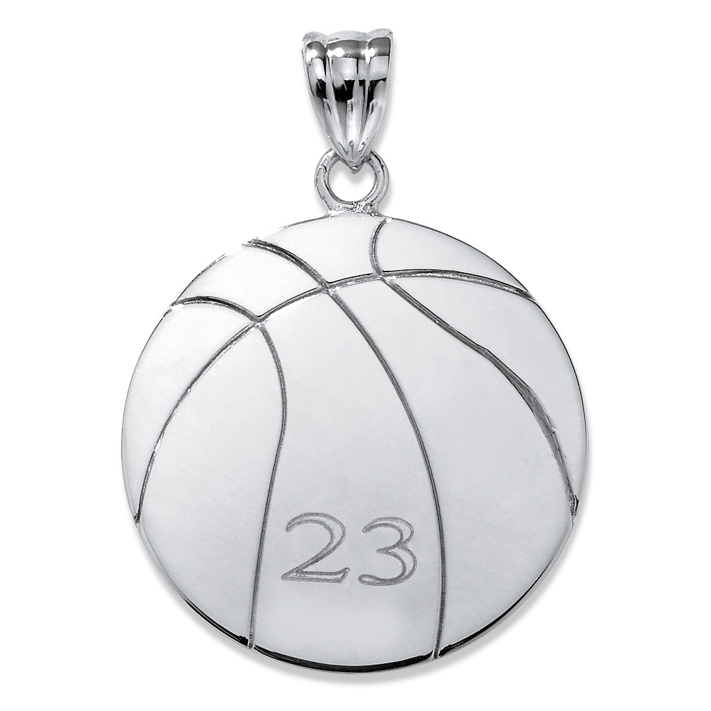 Sterling Silver Personalized Basketball Charm Pendant At