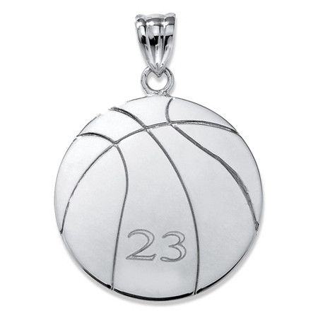 Sterling Silver Personalized Basketball Charm Pendant at PalmBeach Jewelry