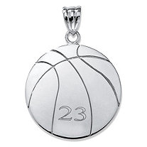 SETA JEWELRY Sterling Silver Personalized Basketball Charm Pendant