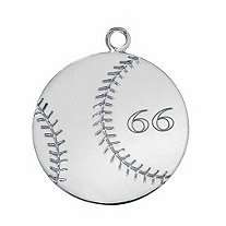 SETA JEWELRY Sterling Silver Personalized Baseball Charm Pendant