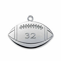 SETA JEWELRY Sterling Silver Personalized Football Charm Pendant