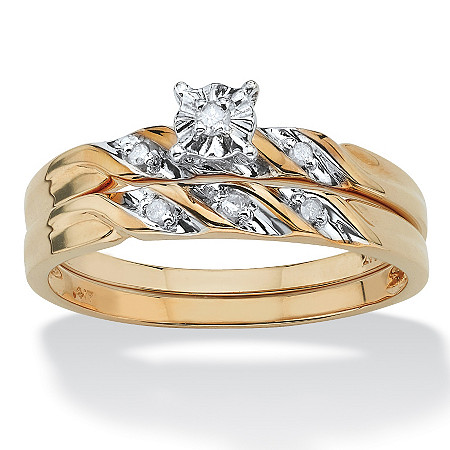Round Diamond Accent 2-Piece Bridal Set in 10k Yellow Gold at PalmBeach Jewelry