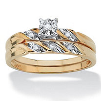 Round Diamond Accent 2-Piece Bridal Set in 10k Yellow Gold