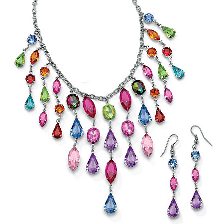 Multicolor Crystal Bib Necklace and Earrings Two-Piece Set in Antiqued Silvertone at PalmBeach Jewelry