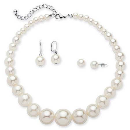 3 Piece Simulated Pearl Set in Silvertone at PalmBeach Jewelry