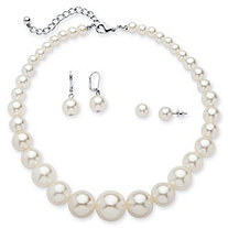 3 Piece Simulated Pearl Set in Silvertone