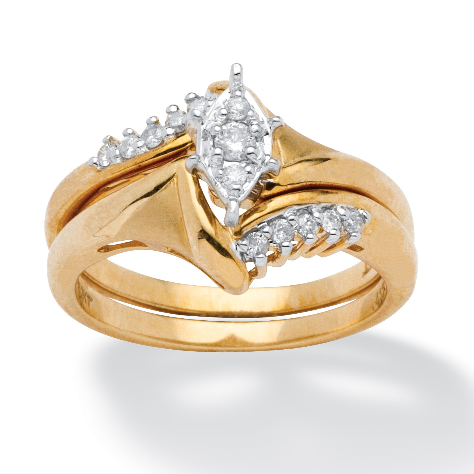 15 TCW Round Diamond 10k Yellow Gold 2Piece Bridal Engagement