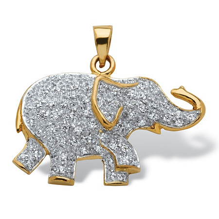 .92 TCW Round Pave-Style Cubic Zirconia Elephant Pendant in 18k Gold over Sterling Silver at PalmBeach Jewelry