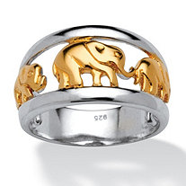 Elephant Ring in Two Tone Sterling Silver with Golden Accents