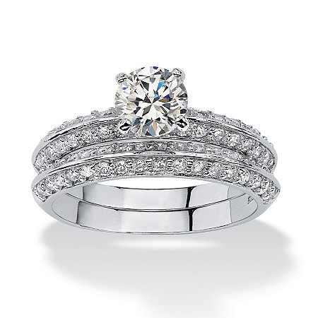2 Piece 2.10 TCW Round Cubic Zirconia Bridal Ring Set in Platinum over Sterling Silver at PalmBeach Jewelry