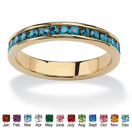 Birthstone Stackable Eternity Band in 14k Gold-Plated at PalmBeach Jewelry