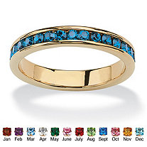 Simulated Birthstone Stackable Eternity Band in 14k Gold-Plated