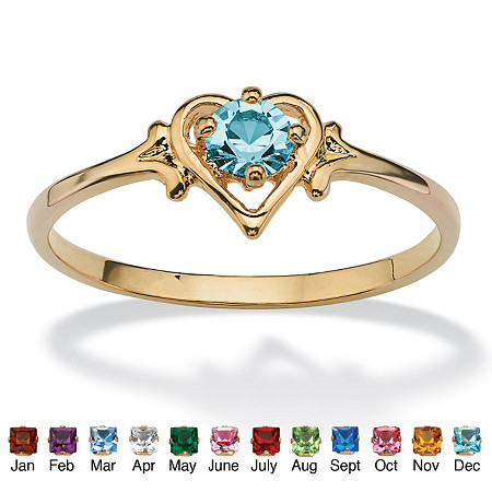 Oval-Cut Birthstone Heart-Shaped Ring in 14k Gold-Plated at PalmBeach Jewelry