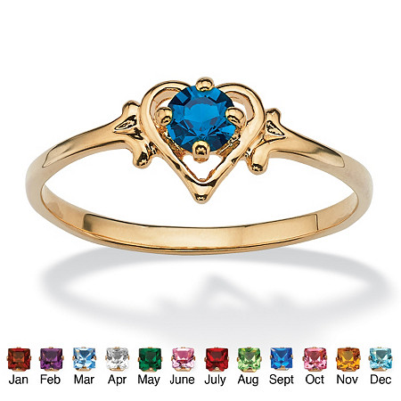 Oval-Cut Simulated Birthstone Heart-Shaped Ring in 14k Gold-Plated at PalmBeach Jewelry
