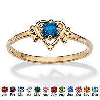 Oval-Cut Simulated Birthstone Heart-Shaped Ring in 14k Gold-Plated