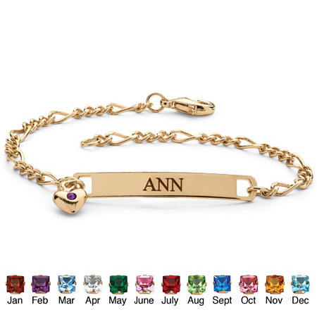 Birthstone Personalized I.D. Bracelet With Heart Charm in Yellow Gold Tone at PalmBeach Jewelry