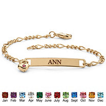 SETA JEWELRY Simulated Birthstone Personalized I.D. Bracelet With Heart Charm in Yellow Gold Tone 7.25