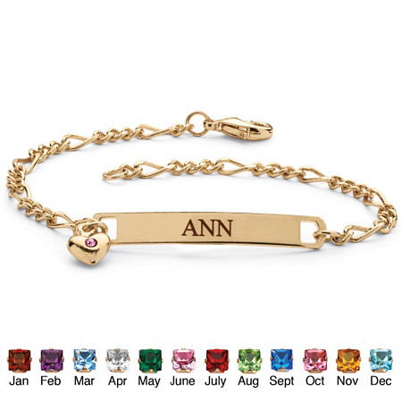 "Simulated Birthstone Personalized I.D. Bracelet With Heart Charm in Yellow Gold Tone 7.25"" at PalmBeach Jewelry"