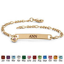 Birthstone Personalized I.D. Bracelet With Heart Charm in Yellow Gold Tone 7.25