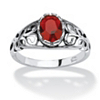 Related Item Oval-Cut Birthstone Scroll Ring in Sterling Silver
