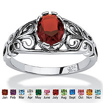 Oval-Cut Birthstone Scroll Ring in Sterling Silver