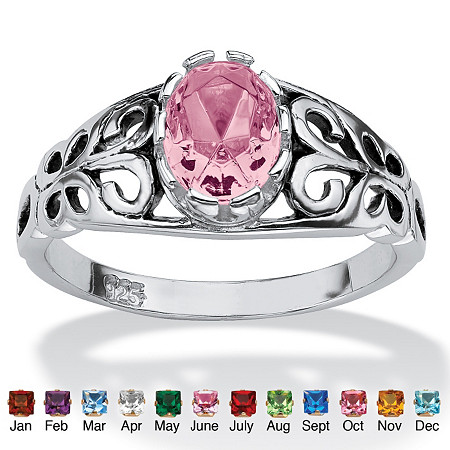 Oval-Cut Birthstone Scroll Ring in Sterling Silver at PalmBeach Jewelry