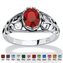 Oval-Cut Simulated Birthstone Scroll Ring in Sterling Silver