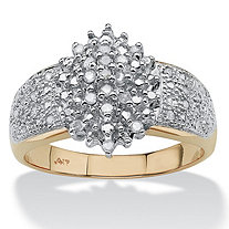 SETA JEWELRY 1/4 TCW Round Diamond Marquise-Shaped Cluster Ring in Solid 10k Gold