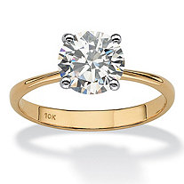 SETA JEWELRY 2.50-Carat Round Genuine Topaz 10k Yellow Gold Solitaire Bridal Engagement Ring