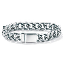 "Men's Curb-Link Chain Bracelet in Stainless Steel 8"" (13mm)"
