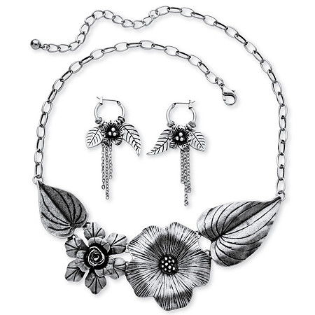 Silvertone Antique-Finish Flower and Leaf Bib Necklace and Earrings Set at PalmBeach Jewelry