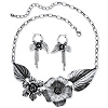 Related Item Silvertone Antique-Finish Flower and Leaf Bib Necklace and Earrings Set