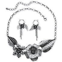 Silvertone Antique-Finish Flower and Leaf Bib Necklace and Earrings Set