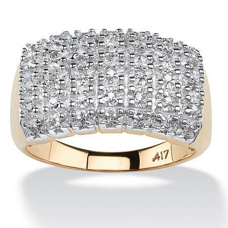 1/5 TCW Pave Diamond Cluster Ring in Solid 10k Yellow Gold at PalmBeach Jewelry
